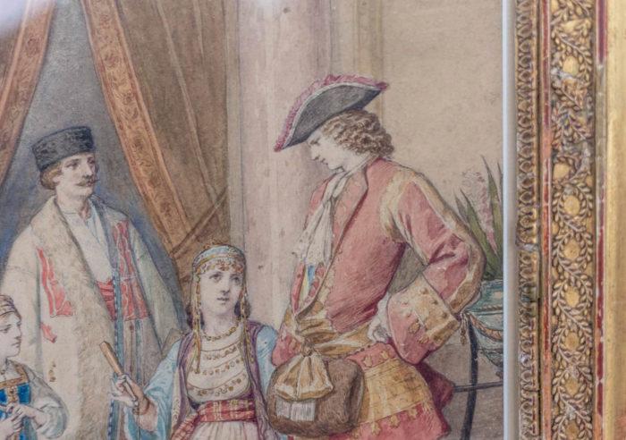 aquarelle bal masqué homme 18e