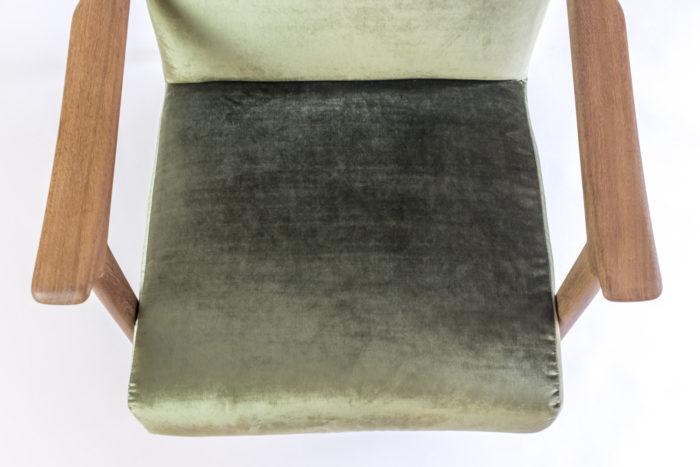 arne hovmand fauteuil assise velours vert