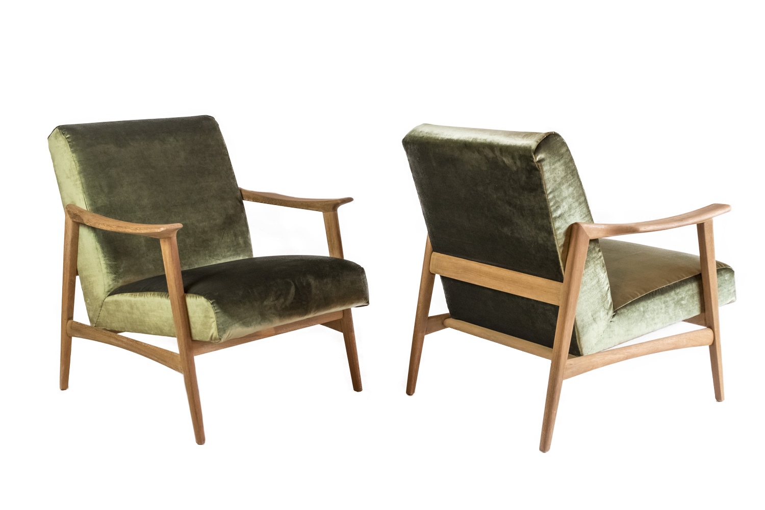 arne hovmand olsen pair of scandinavian armchairs in teak and velvet 1970s