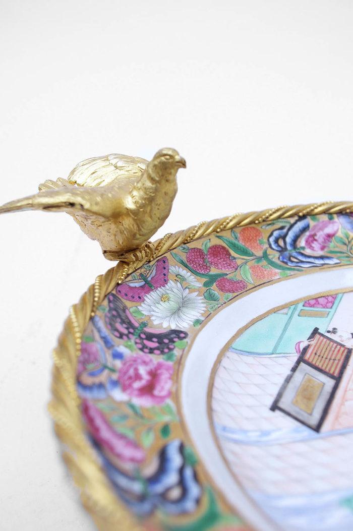 assiette porcelaine canton monture oiseau 2