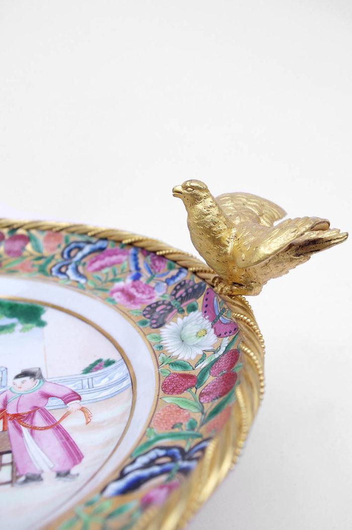 assiette porcelaine canton monture oiseau