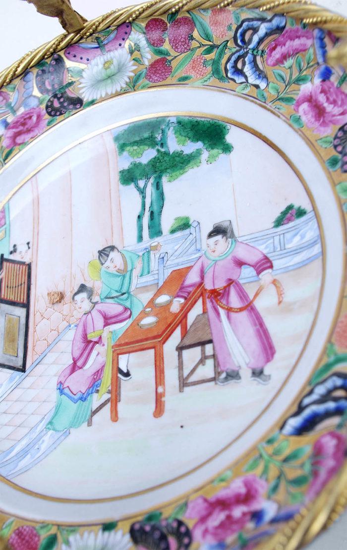 assiette porcelaine canton scène asiatique