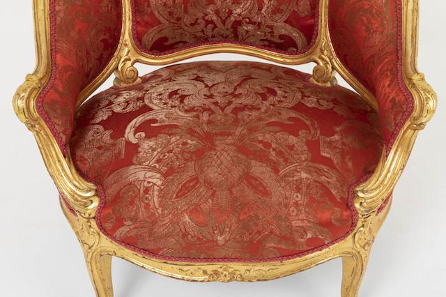 bergère basse louis xv assise rouge