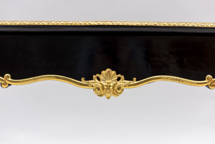 bureau plat louis xv motif central tiroir
