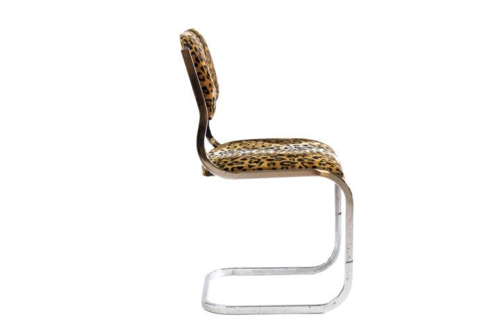 chaise cantilever métal tissu guépard côté 2