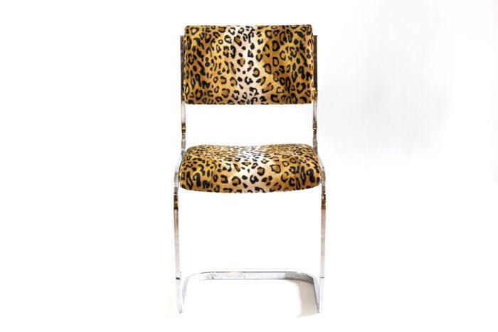 chaise cantilever métal tissu guépard face