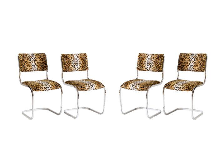 chaises cantilever métal tissu guépard prcpl