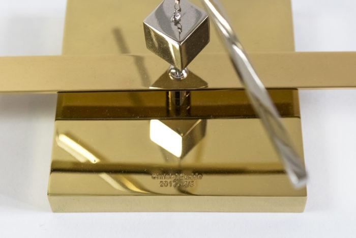 christel sadde stabile carré laiton doré argenté base signature