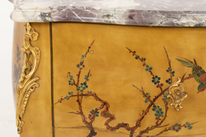 commode sauteuse style louis xv décor arbre fleuri