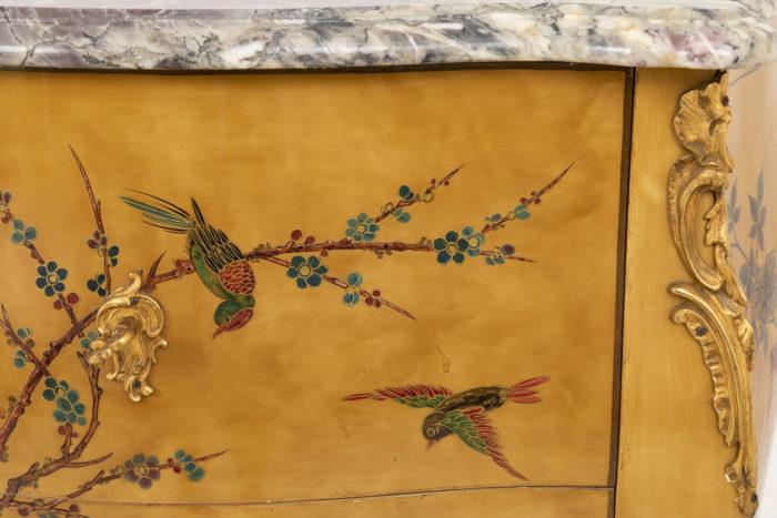 commode sauteuse style louis xv décor oiseaux