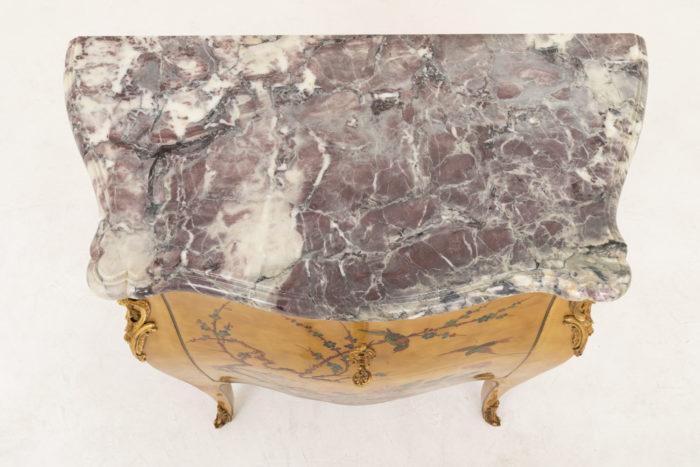 commode sauteuse style louis xv marbre