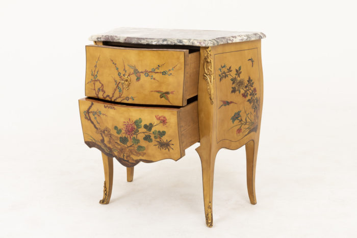 commode sauteuse style louis xv tiroirs ouverts