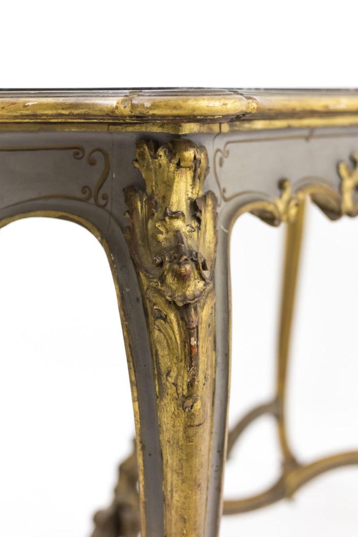 console laqué dorée pied feuilles d'acanthe