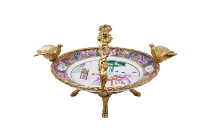 assiette porcelaine canton monture bronze prcpl