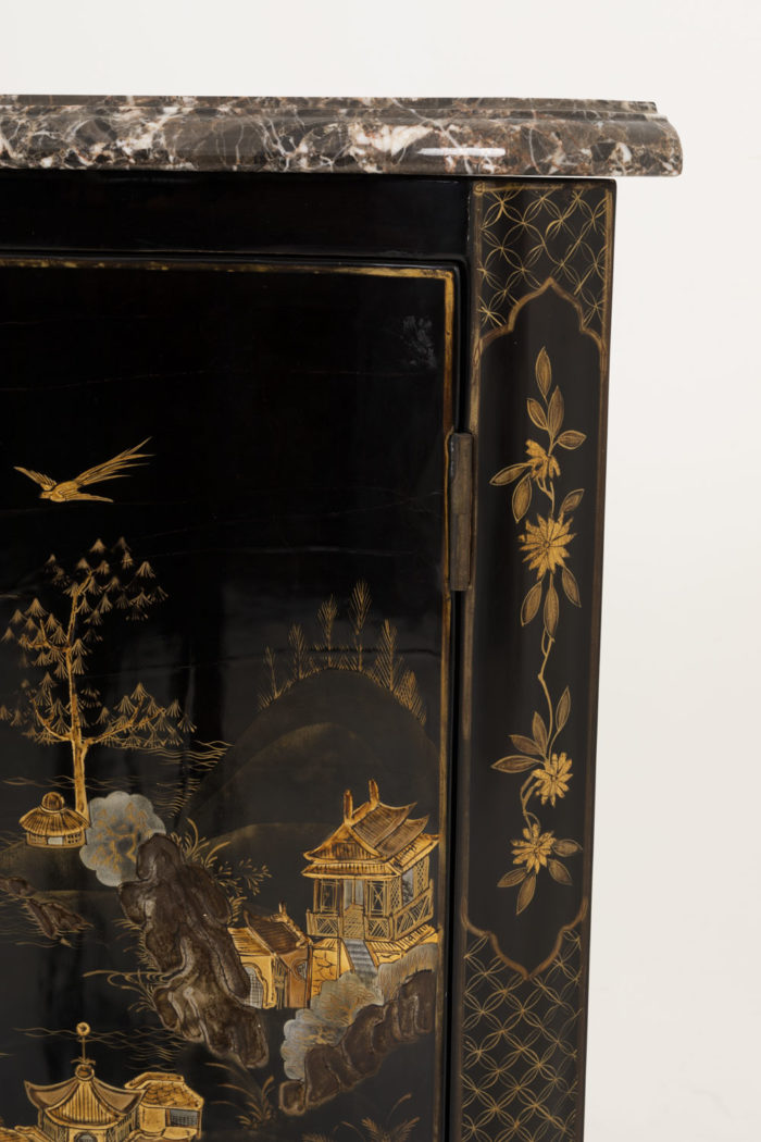 louis xv style corner cabinet cartouches flowers