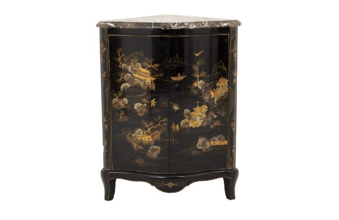 encoignure style louis xv laque noire décor chinoisant prcpl