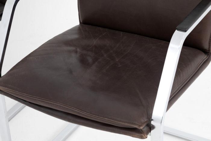fauteuil glatzel knoll cuir brun foncé