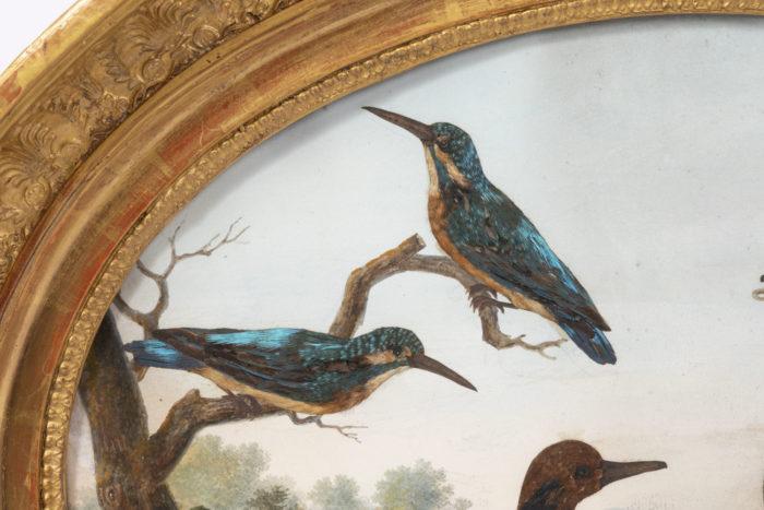 gouache oiseaux martins-pêcheurs détail