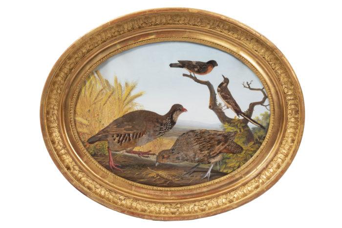 gouache oiseaux perdrix rouge-gorge