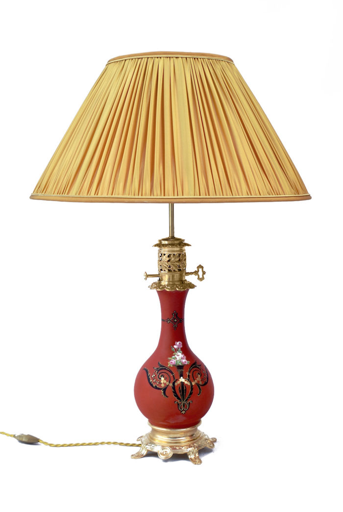 lampe balustre orange fleurs-44