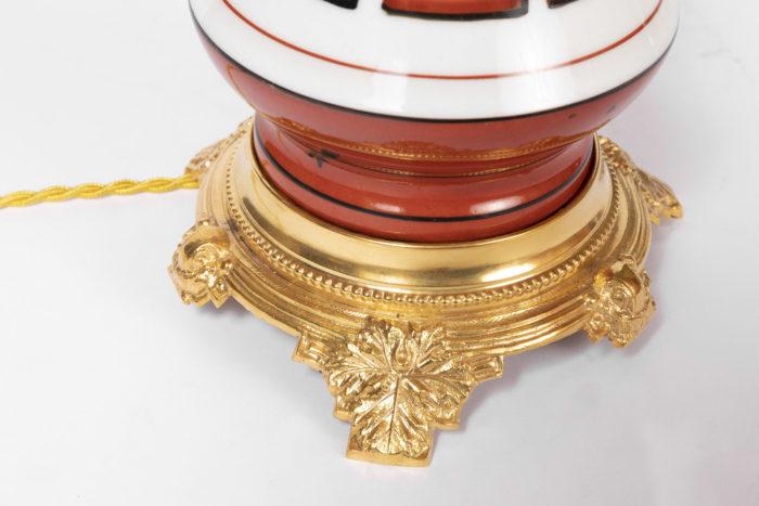 lampe orange grecques base bronze doré feuille vigne