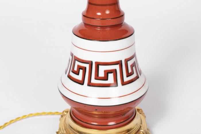 lampe orange grecques panse bande
