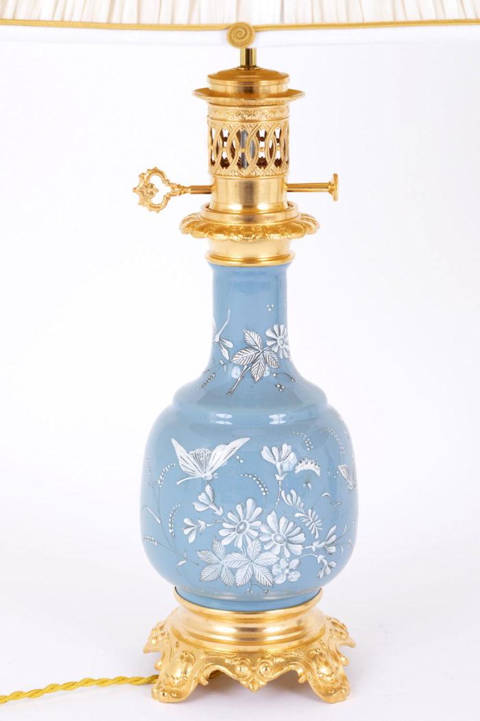 lampe porcelaine bleue émaux blancs entier 2