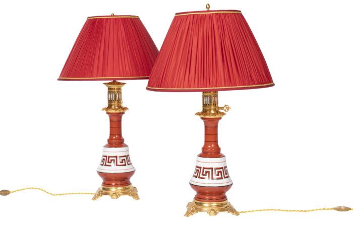 orange greek lamps
