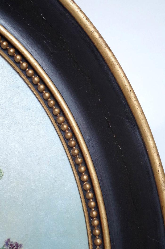 laurenceau toiles fleurs cadre noir doré