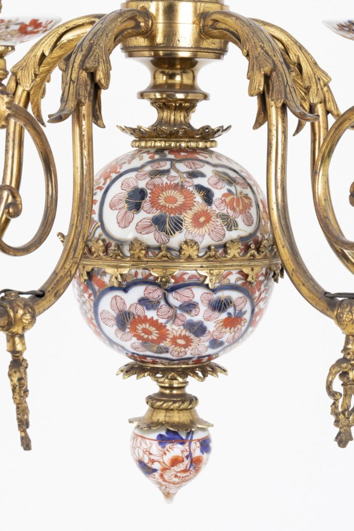 lustre hollandais sphère imari bronze doré