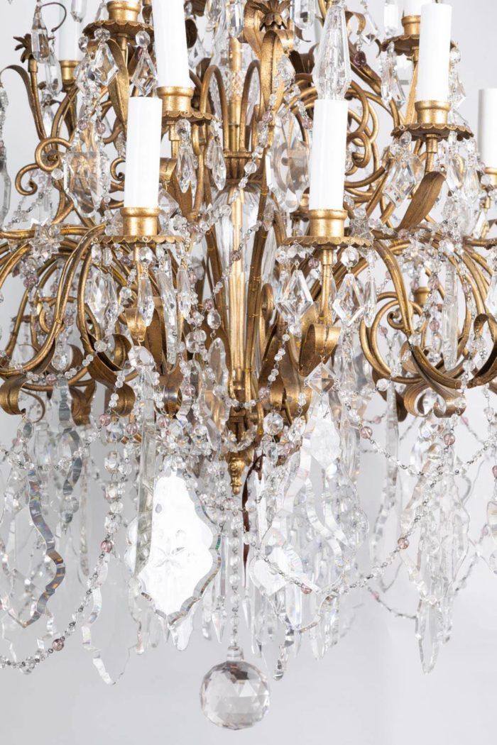lustre louis xv laiton doré et pampilles cristal