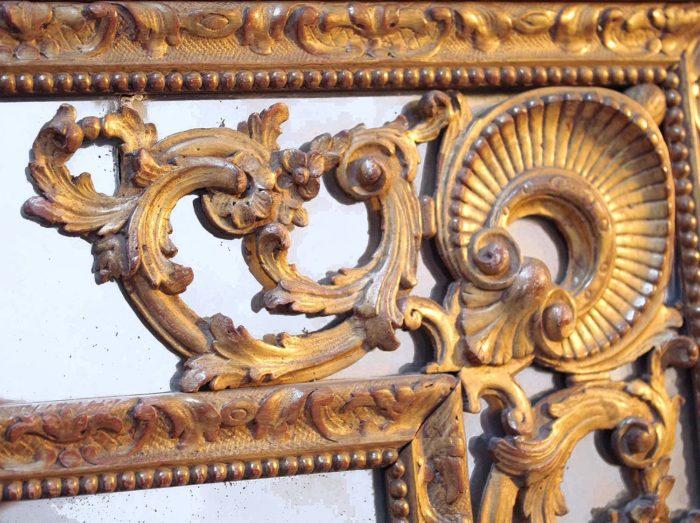 miroir parclose style régence coquille rinceaux