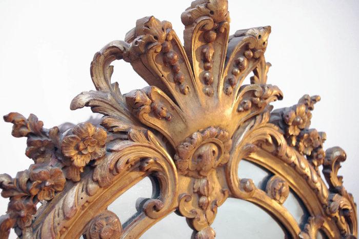 miroir parclose style régence fronton palmette
