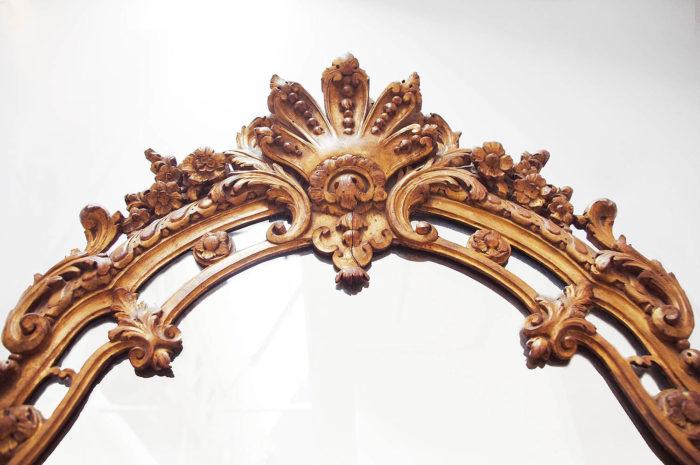 miroir parclose style régence fronton palmette ajouré