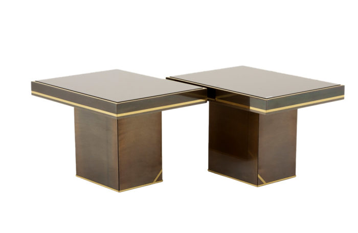 pair end tables brass coppered mirror