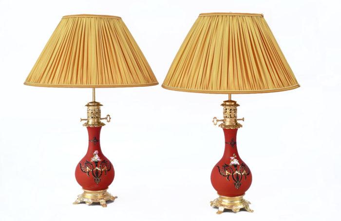 pair lamps orange black and gilt decor prcpl