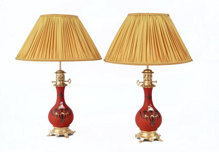 paire lampes orange décor noir et or prcpl