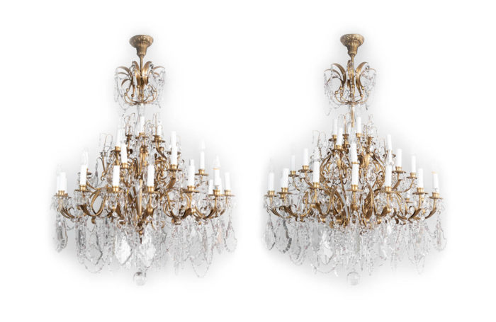 pair louis xv chandeliers brass crystal