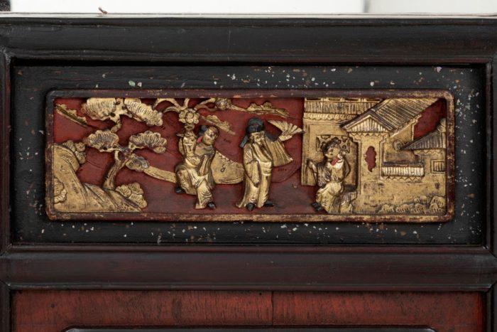 porte laque chinoise bas-relief scène palais