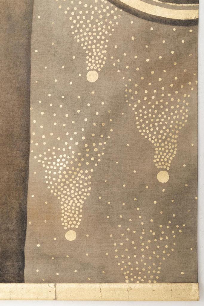 portrait femme art déco points dorés fond