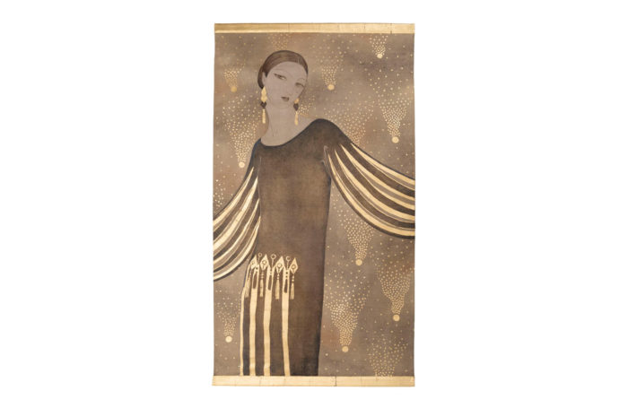 art deco woman portrait linen canvas