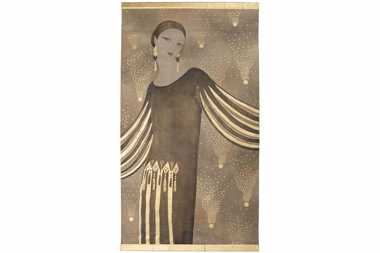 Art Deco Painted Wood Womans Head