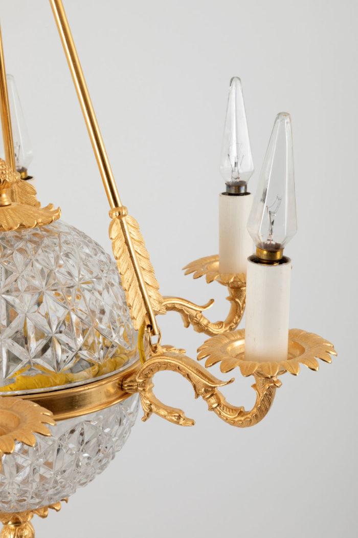 suspension empire cristal bronze doré côté