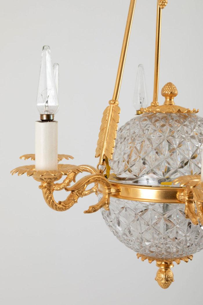 suspension empire cristal bronze doré détail côté