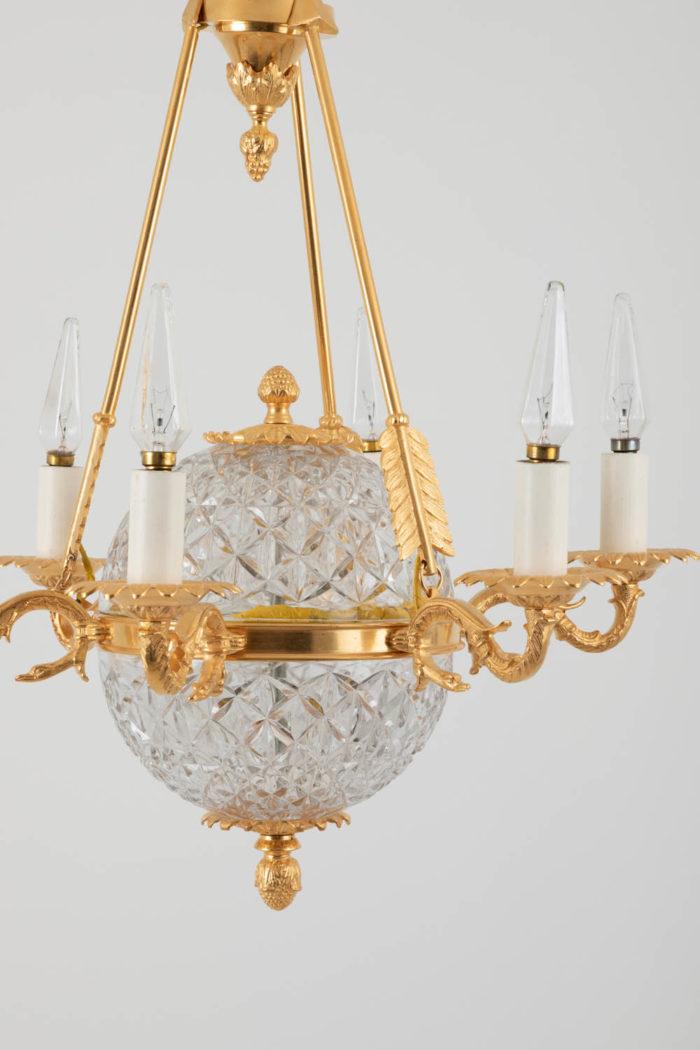 suspension empire cristal bronze doré zoom