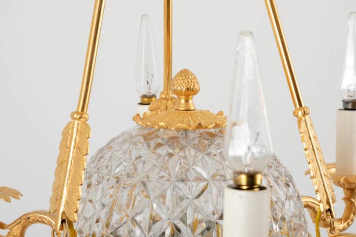 suspension empire sphère cristal fruit bronze doré