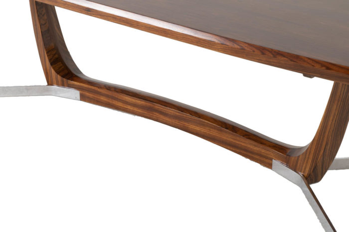 table basse palissandre métal entretoise