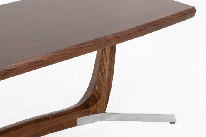 table basse palissandre métal zoom côté