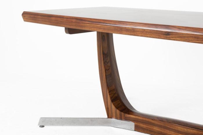 table basse palissandre métal zoom côté entretoise