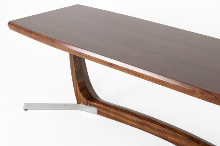 table basse palissandre métal zoom côté plateau piètement